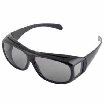 Harga HD Vision Driving Anti Glare Wrap Around Sunglasses (Black) - intl
