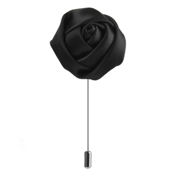 Men Handmade Rose Flower Boutonniere Lapel Tie Pin Brooch (Black)