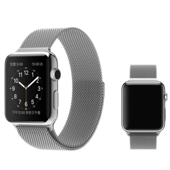 Milanese Magnetic Loop Stainless Watch Band Strap Leather Loop For Apple Watch Silver 42mm - intl