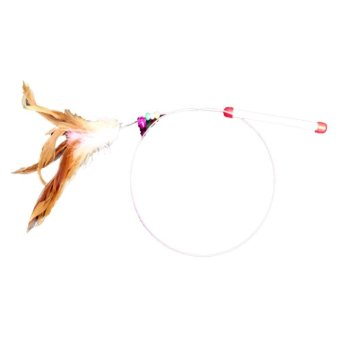 Harga Funny Hand Toy Cat Feather Bell Wand Teaser Rod Bead Interactive Pet Ball Toys