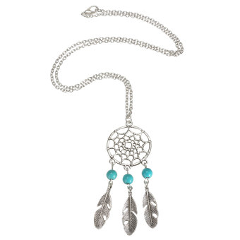 Dream Catcher Wings Charm Pendant Vintage Women Long Sweater Chain Necklace Three Turquoise - Intl