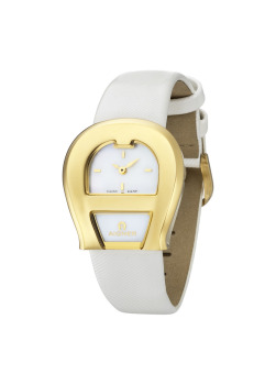 Aigner Venezia Due White Leather Strap Watch