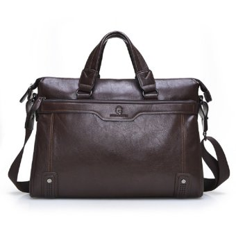 Harga Business Briefcase Genuine Leather Bag for Men (Coffee)(Export)