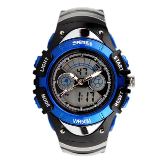 Harga SKMEI Children Watch SKMEI Brand Dual Time Zone Digital Quartz Multifunction Wristwatch Waterproof Student Sports Kids Watches(Blue)