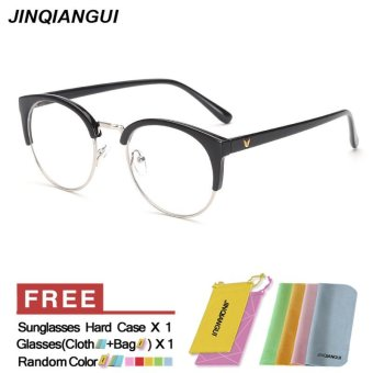 Harga Fashion Glasses Frame Vintage Retro Cat Eye Glasses BrightBlack Frame Glasses Plastic Frames Plain for Myopia Women Eyeglasses Optical Frame Glasses - intl