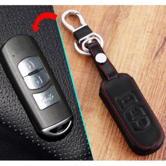 3 Button Leather Car Remote Key Holder Case Cover Chain with Buckle for Mazda 2 3 6 CX-5 CX-7 CX-9 MX-5 Axela Atenza Black - Intl
