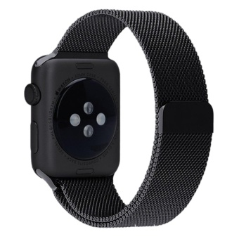 Milanese Magnetic Loop Stainless Watch Band Strap Leather Loop For Apple Watch Black 42mm - intl