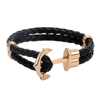 Harga Fancyqube Men Double-Deck Boat Anchor Weave Chain Leather Bracelets Black Rope Gold Anchor