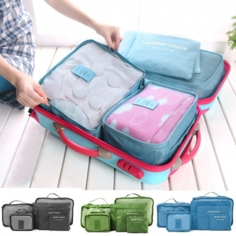Harga ETOP 6PCS Travel Luggage Bag Clothes Organizer Large Medium Small Size Pouch Handbag Suitcase (rose red)