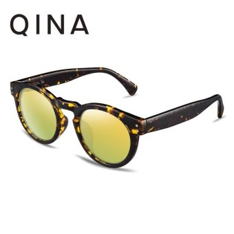 Harga QINA Polarized Women Tortoise Sunglasses Round UV 400 Protection Gold Lenses QN3502 - intl