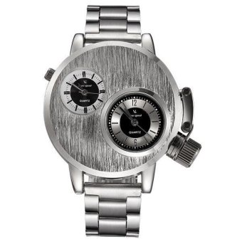 Harga V6 Military Design Dual Time Fashion Watch Silver Steel - Intl