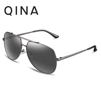 Harga QINA Polarized Women Black Sunglasses Pilot UV 400 Protection Grey Lenses QN3521 - intl