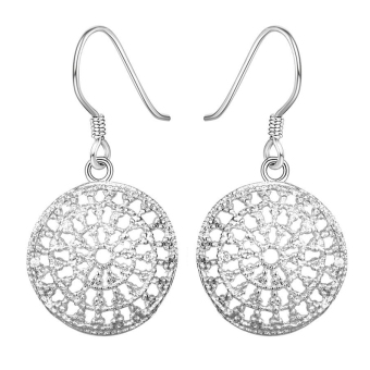 Harga Amart Sterling Silver Round Hollow Out Earrings (Silver) - Intl