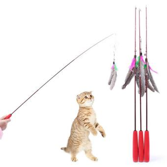 Harga Three Part Da Feather Teaser Wand Cat Toy Refills Go interactive Funny Stick