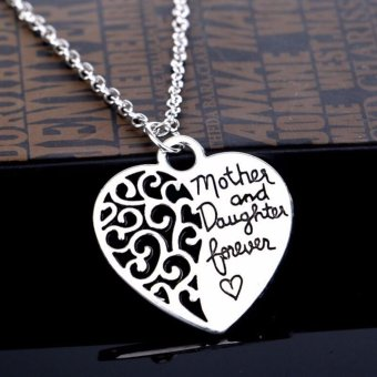 Harga 2xLadies Silver Mother And Daughter Forever Heart Chic Pendant Necklace - intl