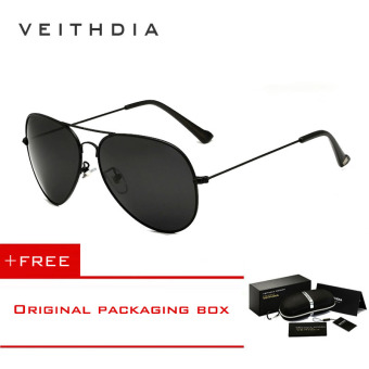 VEITHDIA Brand Classic Fashion Polarized Sunglasses Men/Women Colorful Reflective Coating Lens Eyewear Accessories Sun Glasses 3026(Black) [ Buy 1 Get 1 Freebie ]
