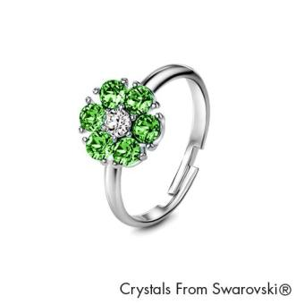 Birthstone Flower Ring August (Peridot) - Crystals from Swarovski®