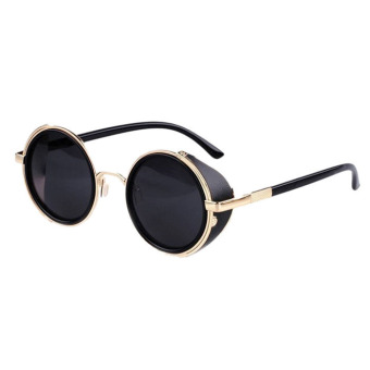 Harga Mirror Lens Round Glasses Cyber Goggles Steampunk Sunglasses Black+Gold