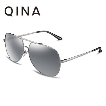 Harga QINA Polarized Women Silver Sunglasses Pilot UV 400 Protection Grey Lenses QN3521 - intl