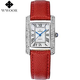 Harga WWOOR Luxury Brand Genuine Leather Square relogio feminino Rose Gold Dress Watch Ladies Casual Quartz Watch Women Watches Clock Female 8806