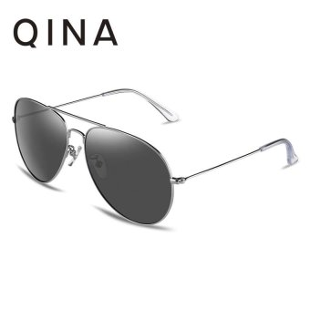 Harga QINA Polarized Men Silver Sunglasses Pilot UV 400 Protection Grey Lenses QN3526 - intl
