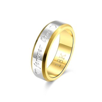 Harga 18K Silver and Gold Plated Forever Love Couple Ring for Men(6)-intl