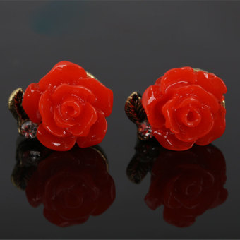 Harga Pair of Chic Rose Pattern Stud Earrings Earbobs Jewelry for Woman Red