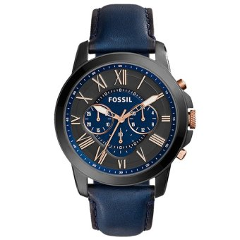 Harga Fossil Grant Chronograph Navy Leather Watch FS5061