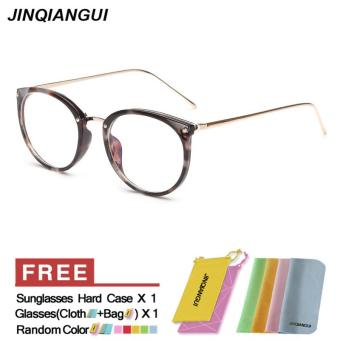 Harga JINQIANGUI Fashion Glasses Frame Vintage Retro Round Glasses BlackWhite Frame Glasses Plastic Frames Plain for Myopia Women Eyeglasses Optical Frame Glasses - intl