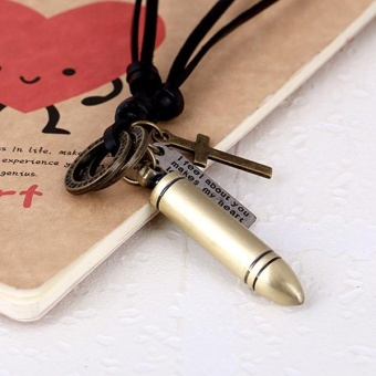Harga Men Punk Vintage Bullet Pendant Necklace PU Leather Chain Necklace - intl