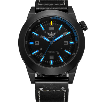Harga YELANG V1009 Super Bright Tritium Gas Blue Luminous Waterproof Genuine Leather Strap Business Casual Quartz Watch - Intl - Intl
