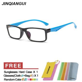 Harga JINQIANGUI Fashion Women Glasses Frame Rectangle Glasses Blue Frame Glasses Plastic Frames Plain for Myopia Women Eyeglasses Optical Frame Glasses - intl