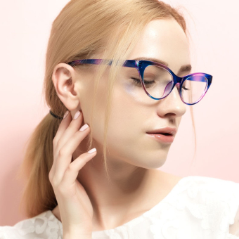 Harga Fashion Glasses Frame Vintage Retro Cat Eye Glasses Blue Frame Glasses Plastic Frames Plain for Myopia Women Eyeglasses Optical Frame Glasses - intl