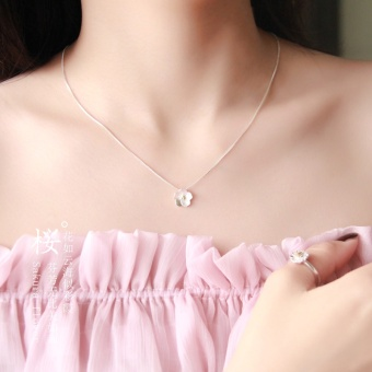 Harga Korea clavicle chain short paragraph cherry necklace female S925 sterling silver pendant small fresh minimalist sweet wild accessories