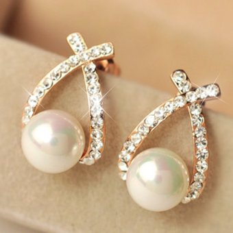 Harga CADIS 24K The Beauty Of The Gloden Pearl Stud Earring - intl