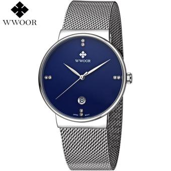 Harga WWOOR Brand Luxury Men Watches Men Quartz Date Ultra Thin Clock Male Waterproof Sports Watch Gold Casual Wrist Watch Relogio Masculino 8018