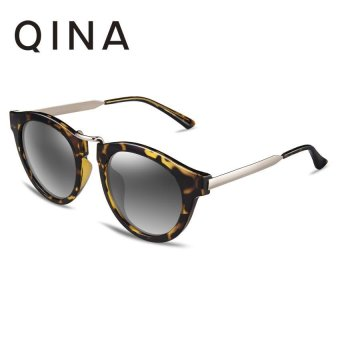 Harga QINA Polarized Women Tortoise Sunglasses Cat Eye UV 400 Protection Grey Lenses QN3505 - intl