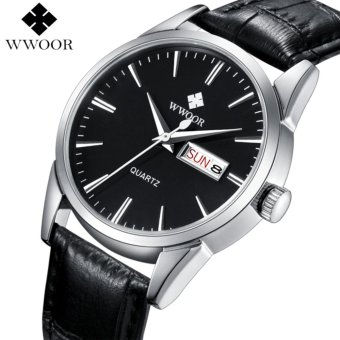 Harga WWOOR Brand Luxury Men Watches Men's Quartz Analog Hour Date Clock Male Genuine Leather Strap Casual Sport Watch relogio masculino 8801 - intl