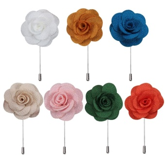7Pcs Unisex Women Men Flower Shape Cloth Fabric Lapel Pin Boutonniere Stick Brooch Accessories for Wedding Party Fashion Show Prom Suit Banquet Clothing Embellishment Style B - intl