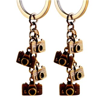 2 Pcs Mini Retro Camera Style Metal Hanging Key Ring Chain for Bag Purse Wallet Pouch