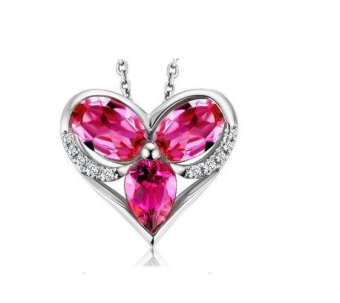 Harga 925 sterling silver Ruby Heart Pendant Necklace Jewelry Accessory - intl
