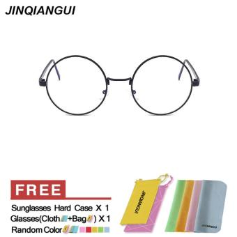 Harga Fashion Mens Glasses Frame Vintage Retro Round Glasses Black Frame Glasses Titanium Frames Plain for Myopia Men Eyeglasses Optical Frame Glasses - intl