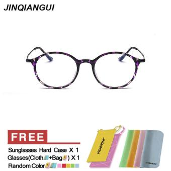 Harga JINQIANGUI Fashion Glasses Frame Vintage Retro Round Glasses Purple Frame Glasses Plastic Frames Plain for Myopia Women Eyeglasses Optical Frame Glasses - intl