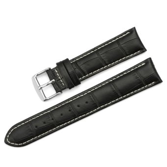 Harga iStrap 20mm Genuine Calf Leather Watch Band Croco Grain Tan Stitch Tang Buckle - Black