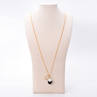 Harga New creative jewelry Original Design dress accessories long necklace Japan and South Korea fashion wild Pearl geometric necklace