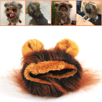 Harga Hot Sales Pet Hat Costume Lion Mane Cat Wig Halloween Dress Up With Ears Pet hat - Coffee - intl