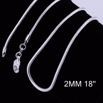 Harga 2MM Hot sale fashion different sizes silver snake chain - intl