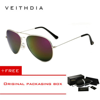 VEITHDIA Brand Classic Fashion Polarized Sunglasses Men/Women Colorful Reflective Coating Lens Eyewear Accessories Sun Glasses 3026(Silver Purple) [ Buy 1 Get 1 Freebie ]