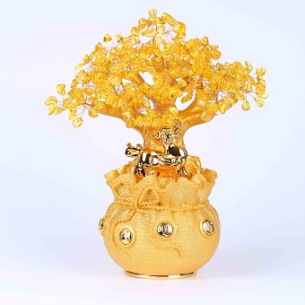 Harga Opening of natural yellow crystal fortune tree lucky purse save money cans opening gifts home decoration