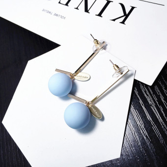 Harga Japan and south korea new jewelry simple matte candy colored ball earrings long paragraph ear wire earrings hypoallergenic earrings jewelry